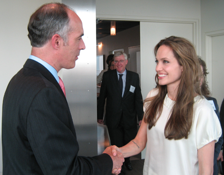 Senator Casey greets Angelina Jolie, UNHCR Goodwill Ambassador