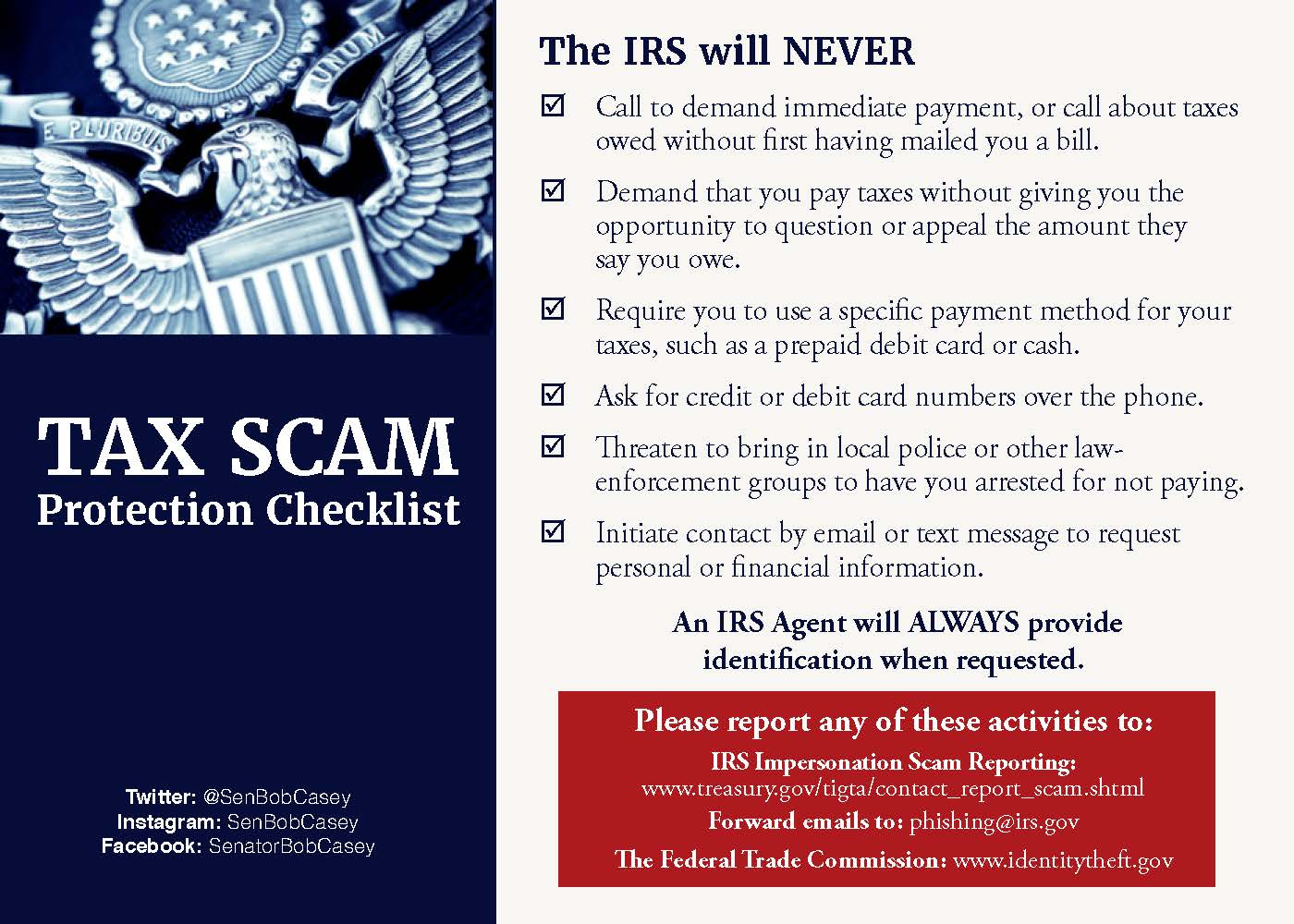 Irs warns of fake tax bills us senator bob casey of pennsylvania casey irs tips falaconquin